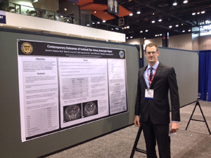 In addition to participating in the surgical skills competition, third-year general surgery resident Dan Newton, M'12, presented original research: Contemporary Outcomes of Isolated Iliac Artery Aneurysm Repair.